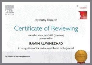 تقدیرنامه دکتر رامین علوی نژاد